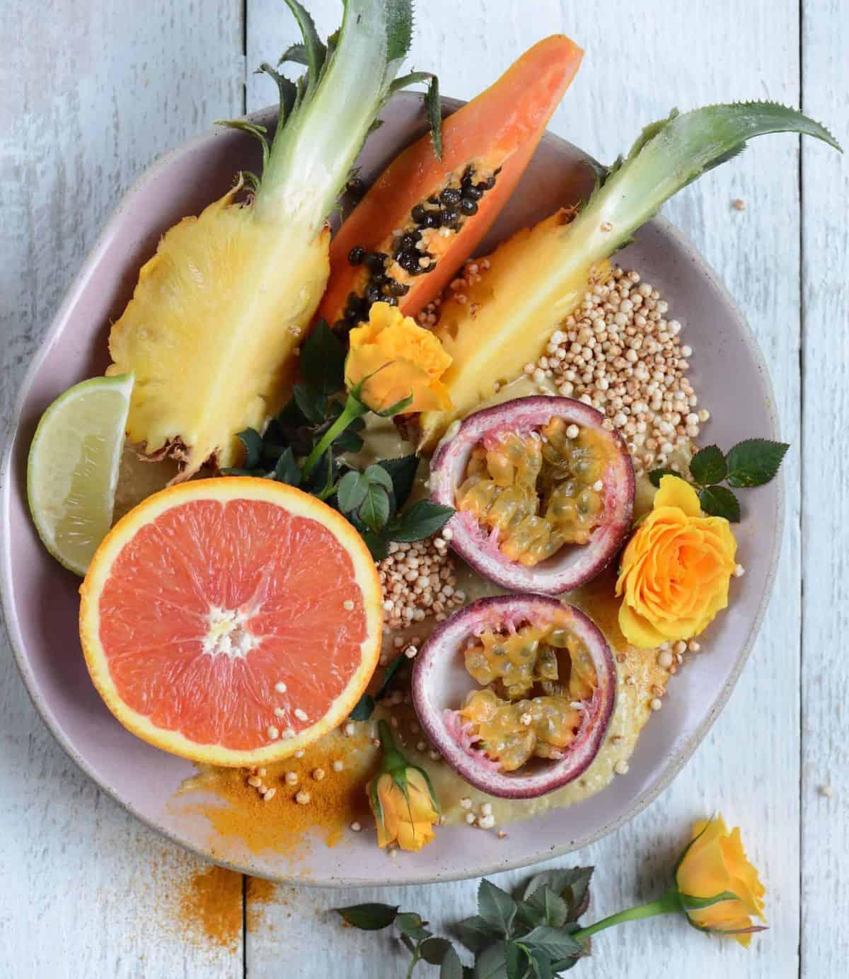 Pineapple papaya & turmeric smoothie bowl