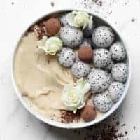 salted caramel style vegan smoothie bowl