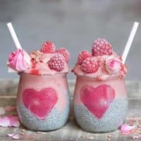 Raspberry smoothie layered Chia pudding jars