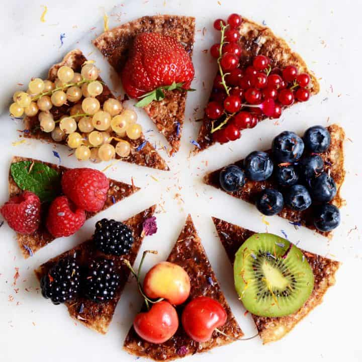 Protein Banana Pancake Pizza Recipe with fruit