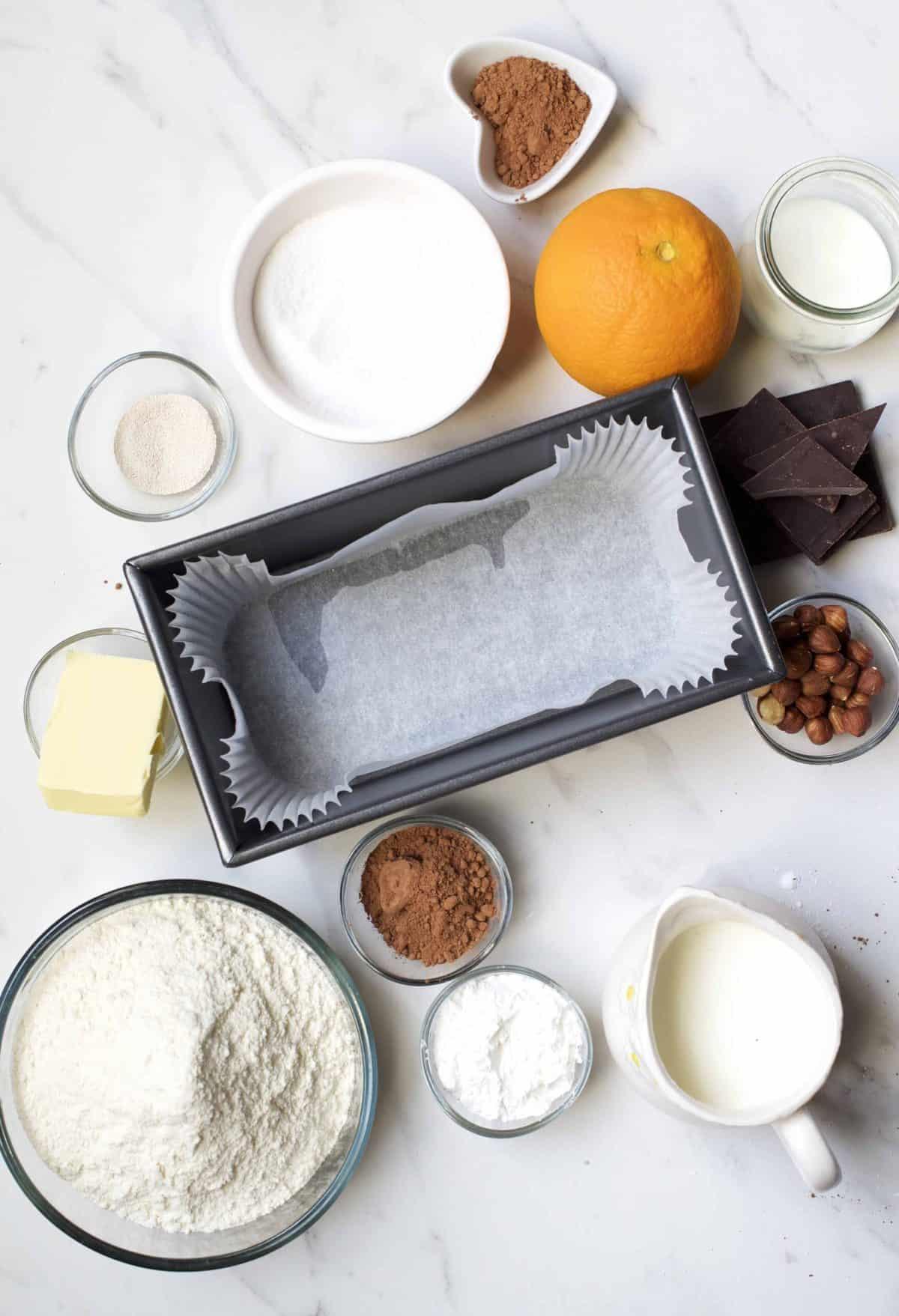 Ingredients for brioche cake