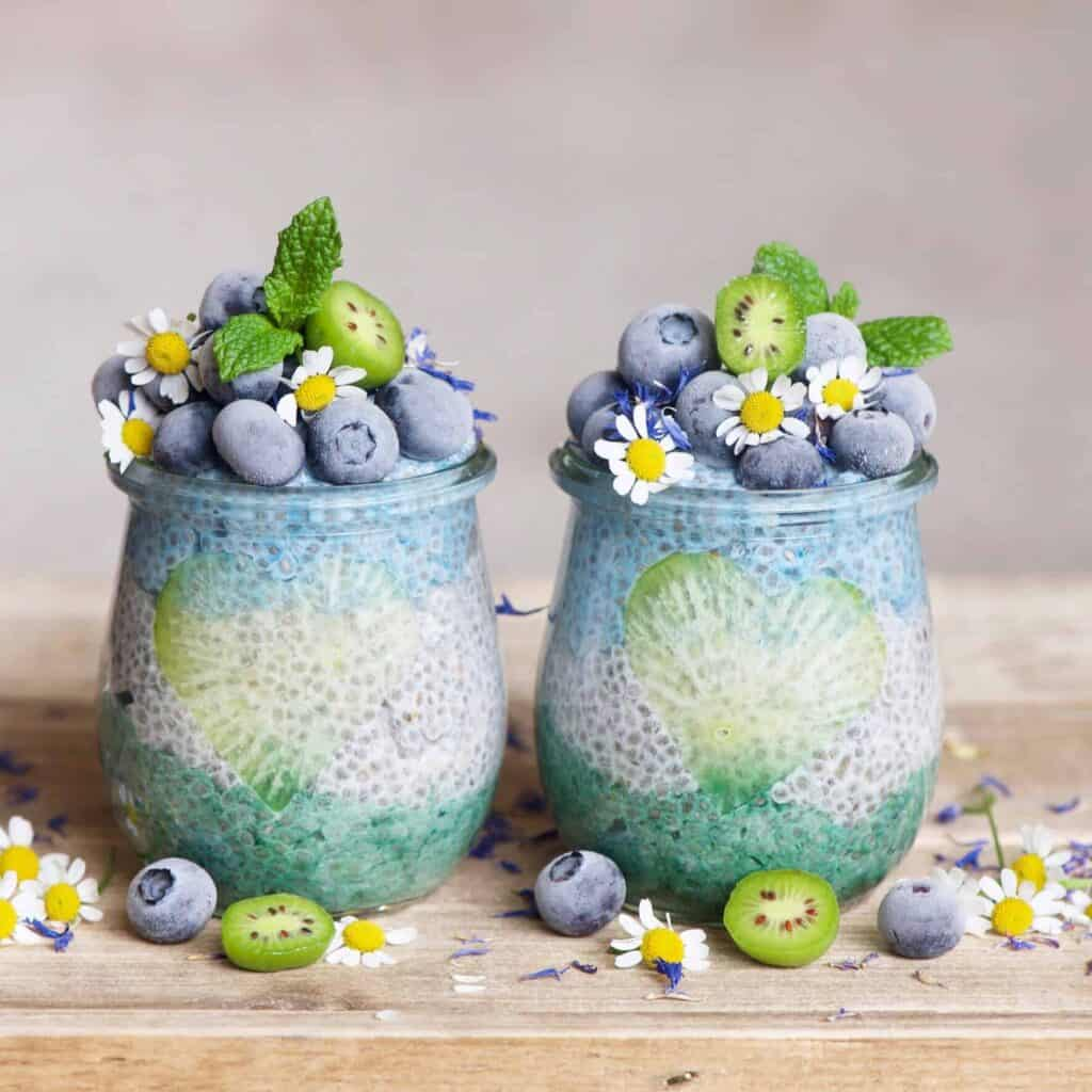 Chia seed pudding with spirulina served in two small jars decorated with blueberries and mini kiwis