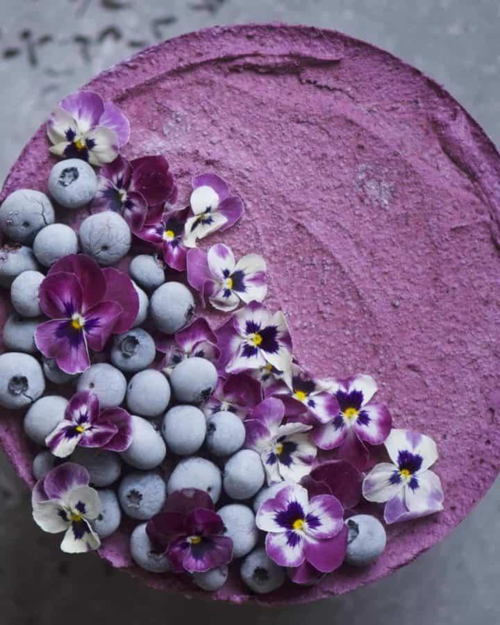 Earl Grey and Blueberry No Bake Vegan Cheesecake