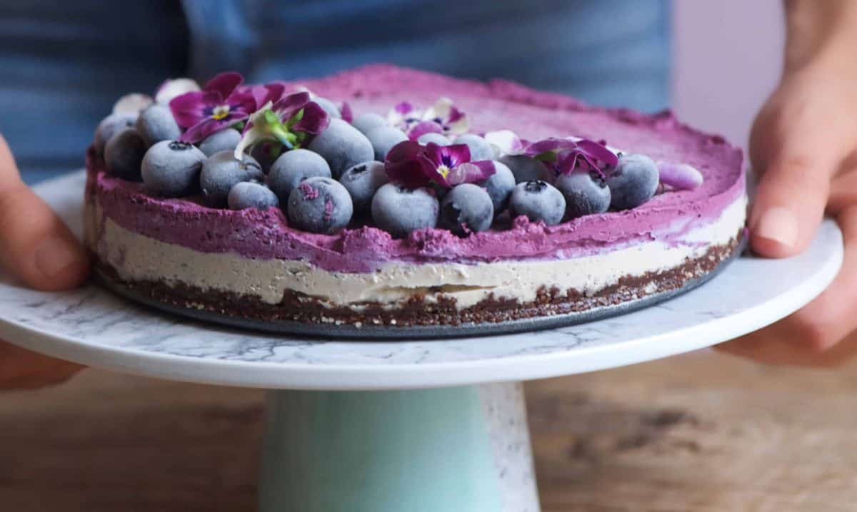Side view of Earl Grey and Blueberry No Bake Vegan Cheesecake