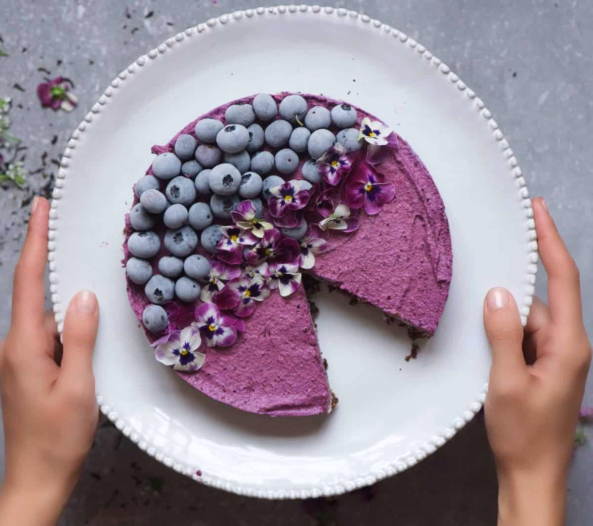 Earl Grey and Blueberry No Bake Vegan Cheesecake in a plate