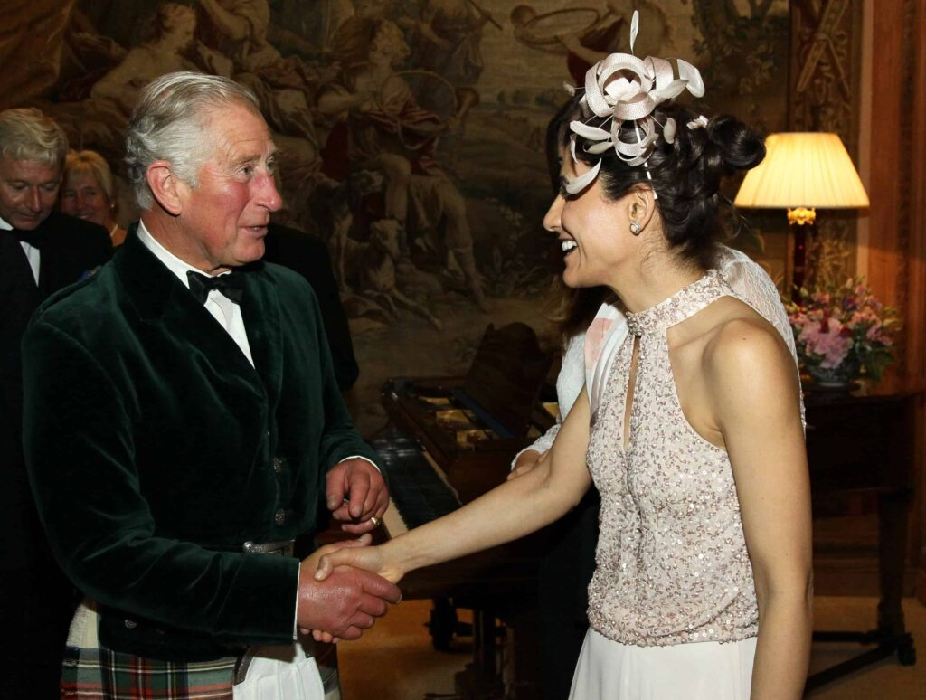 Samira from Alphafoodie meeting HRH The Prince of Wales, Prince Charles,