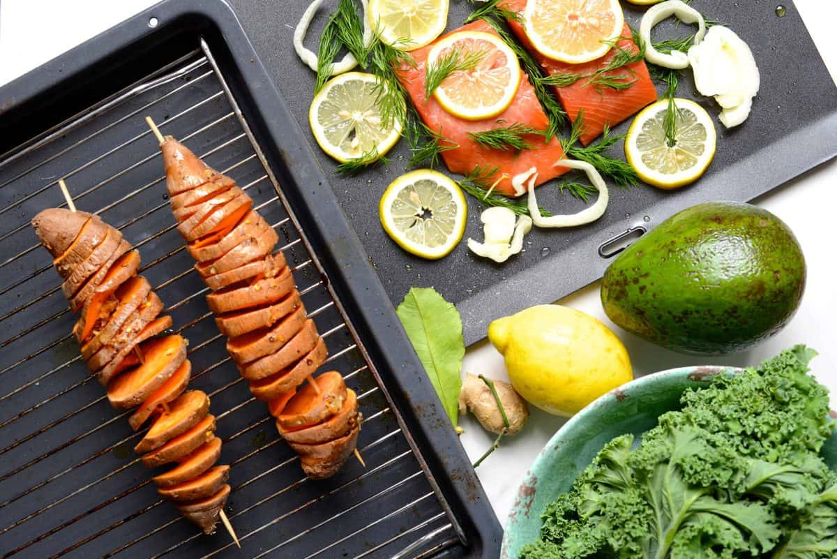 Preparation for Grilled salmon with cake and baked sweet potato