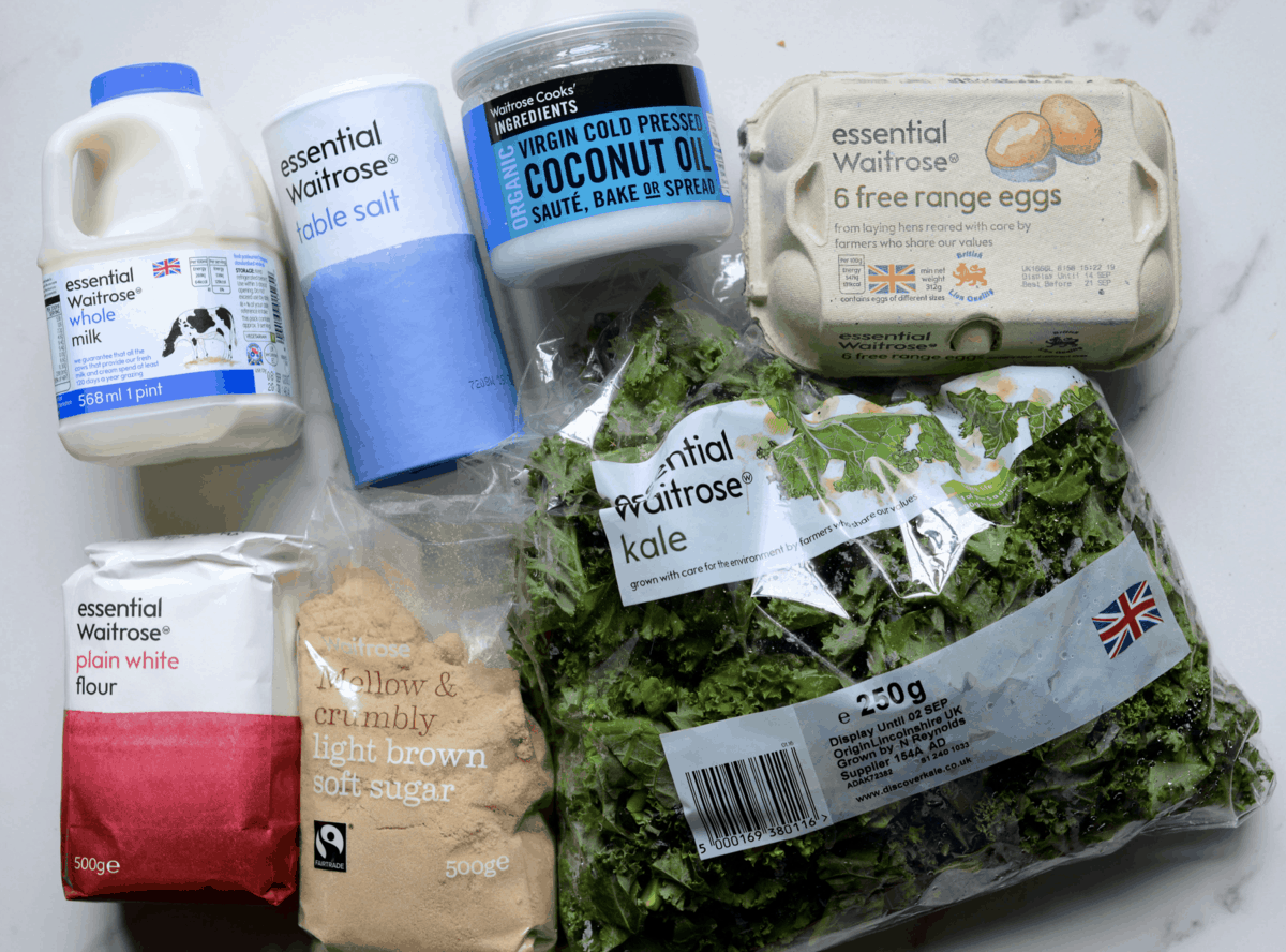 Kale waffle cone recipe ingredients