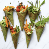 Savory kale waffle cones filled with vegetables