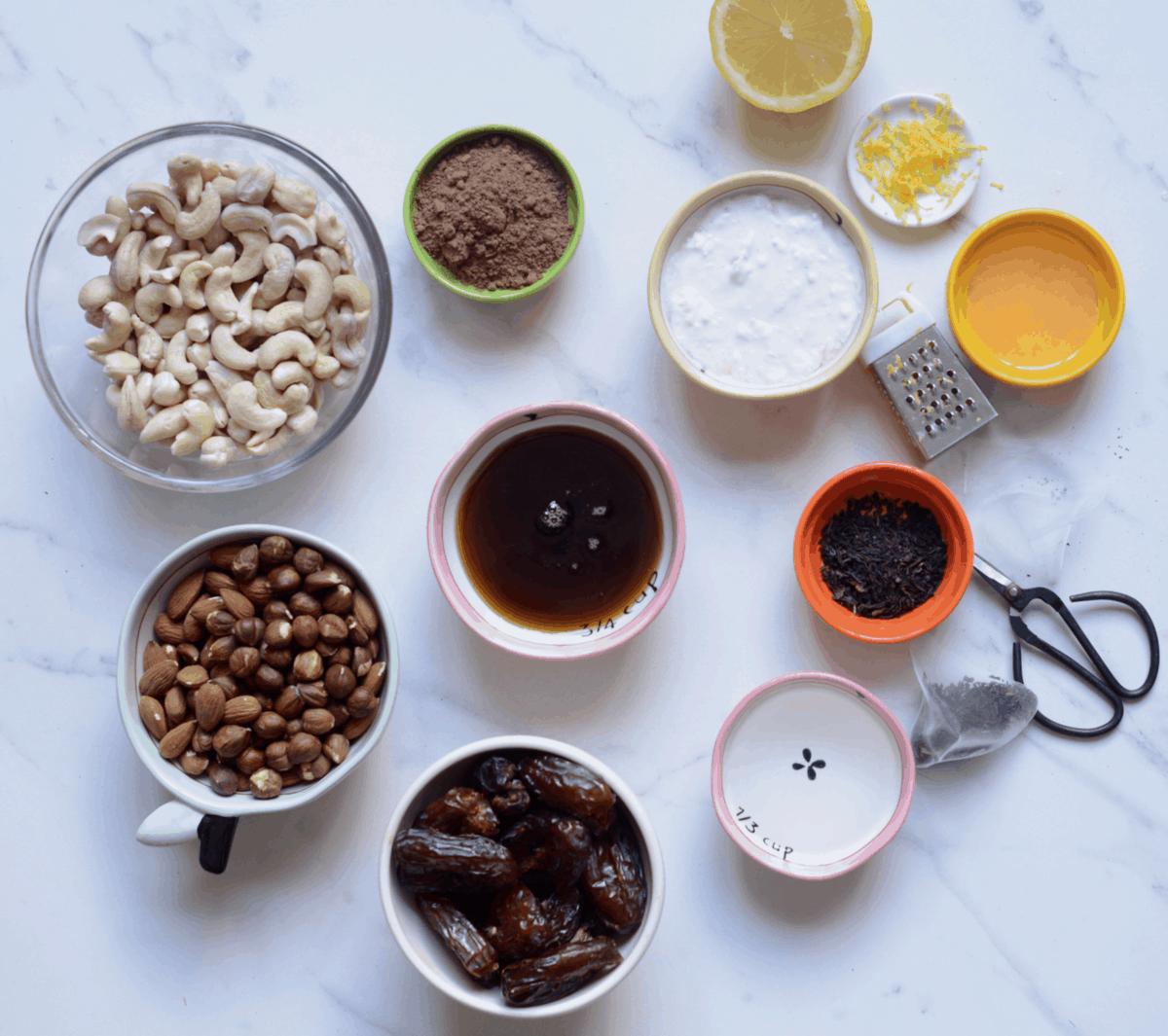Ingredients for No Bake Vegan Cheesecake