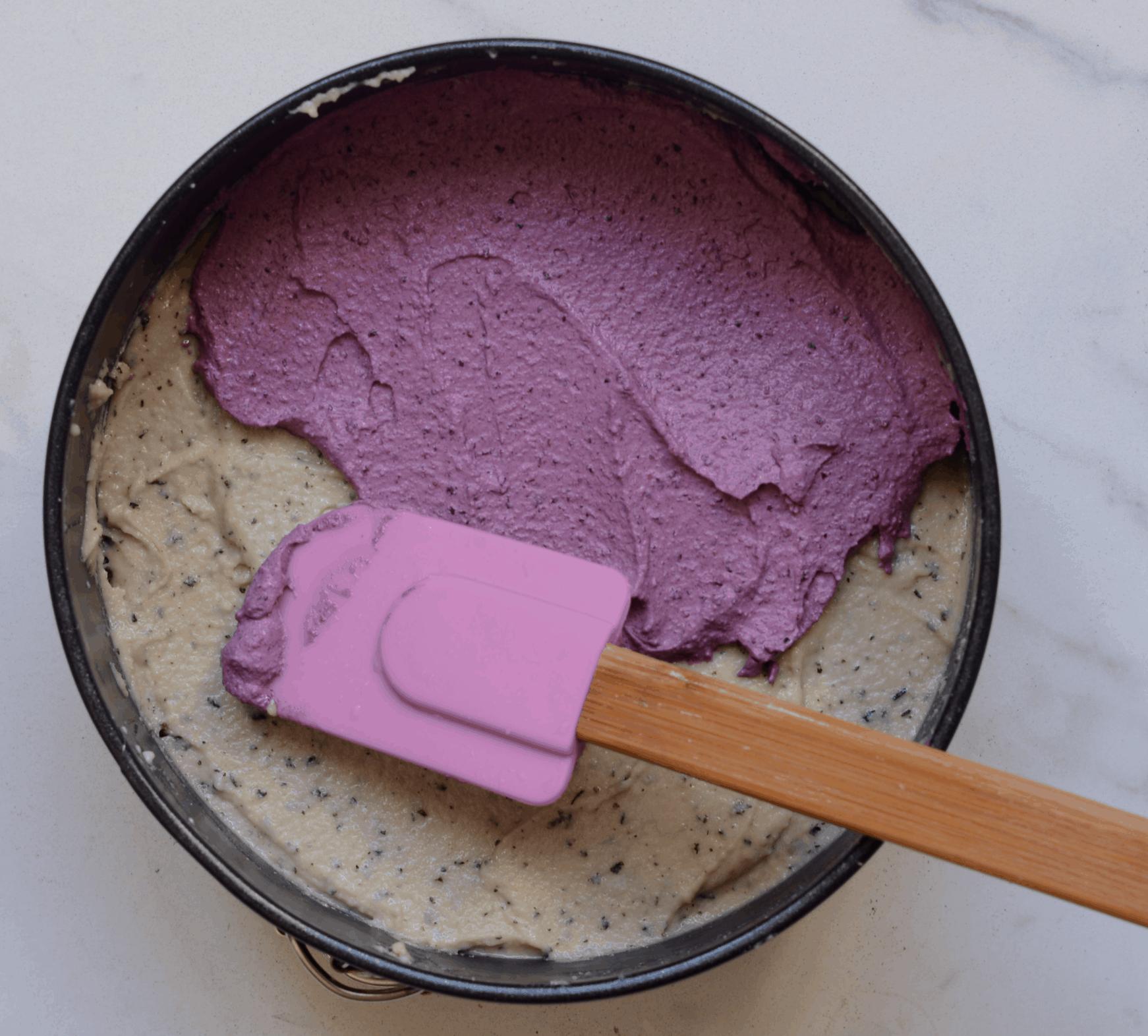 Adding second layer for No Bake Vegan Cheesecake