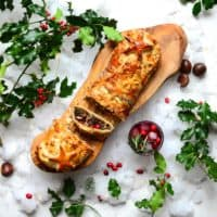 Christmas wellington on a wooden board