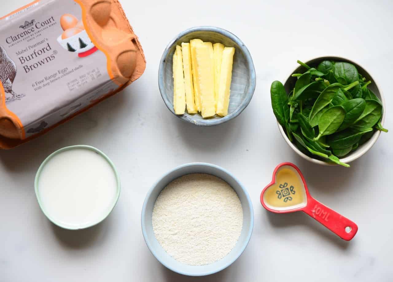 Spinach Pancake ingredients