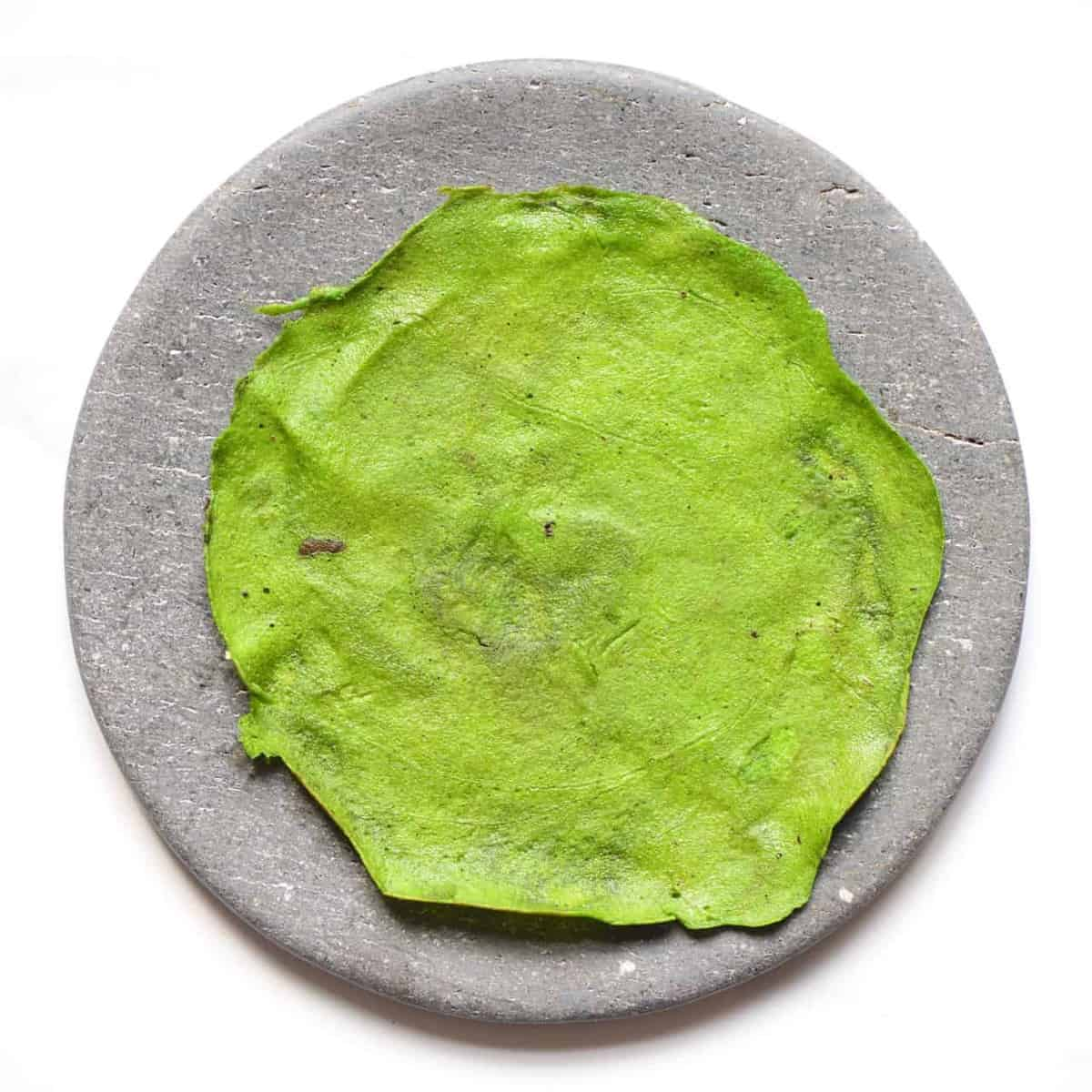 Protein green pancake in a plate