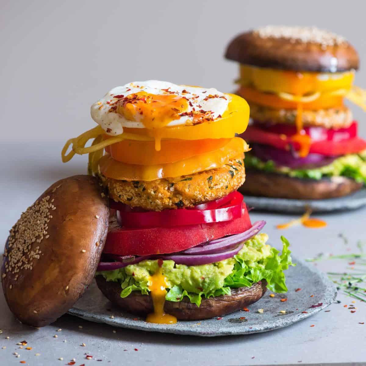 vegetarian mushroom bun burger with sweet potato patty