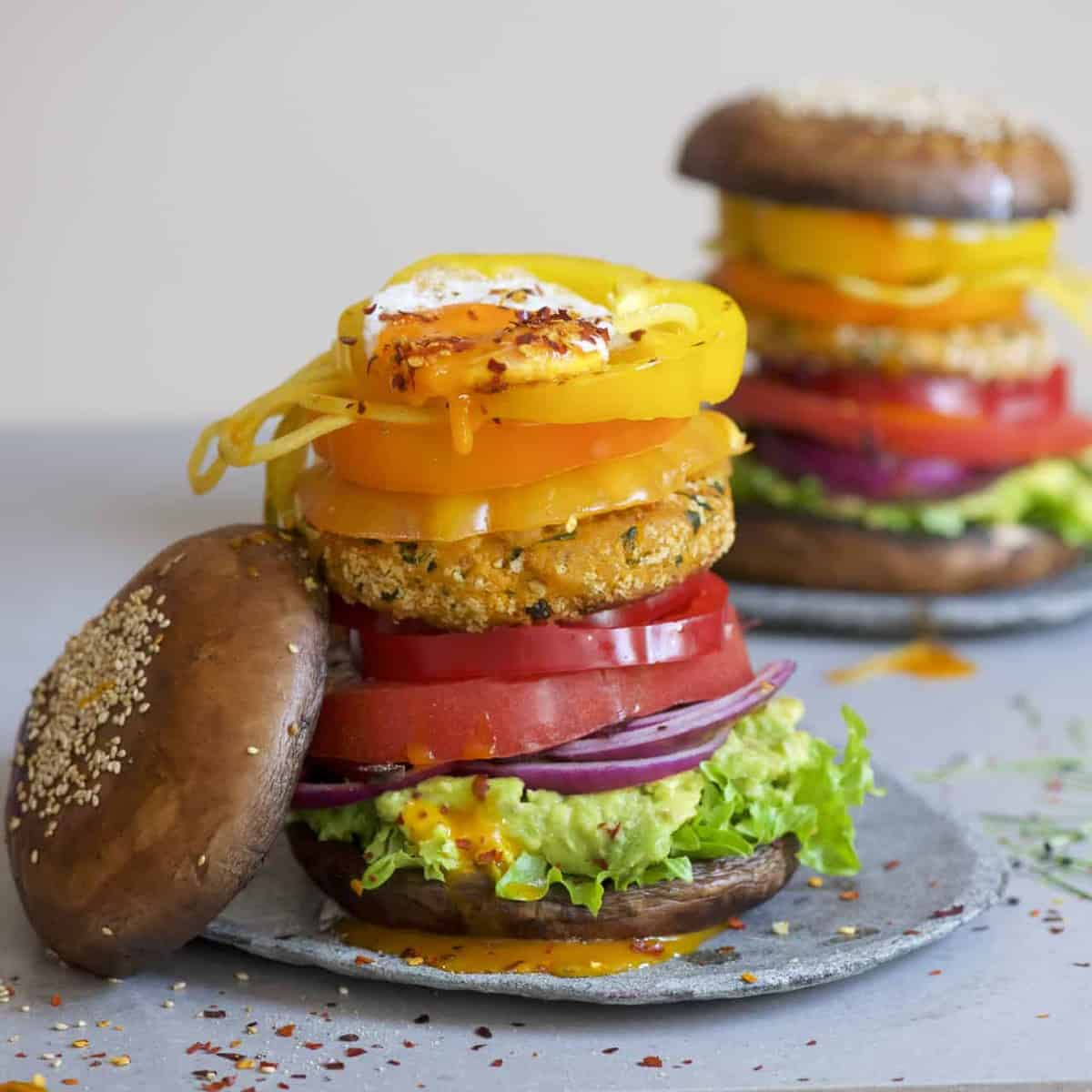 Portobello mushroom bun burger with veggies and sweet potato patty