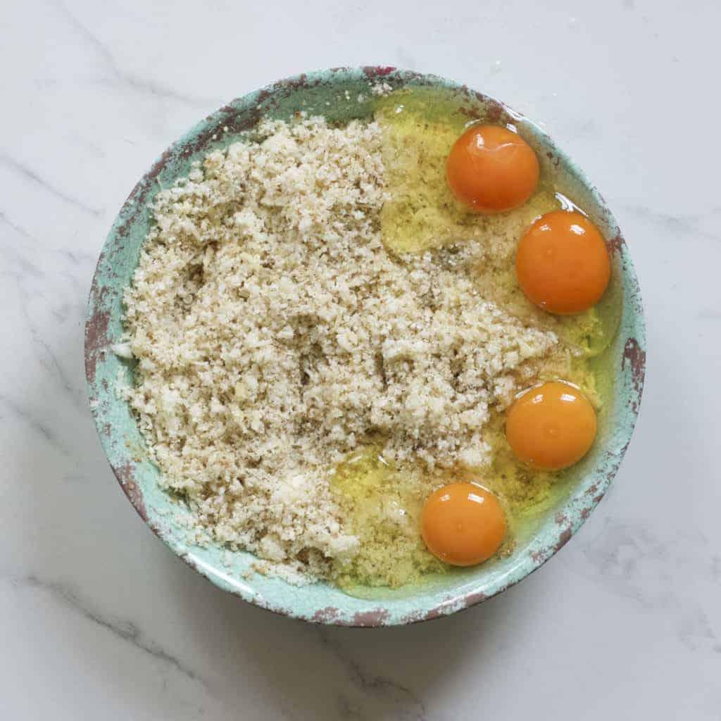 Eggs added to cauliflower mix