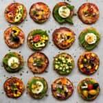cauliflower mini pizzas with vegetables and quails eggs