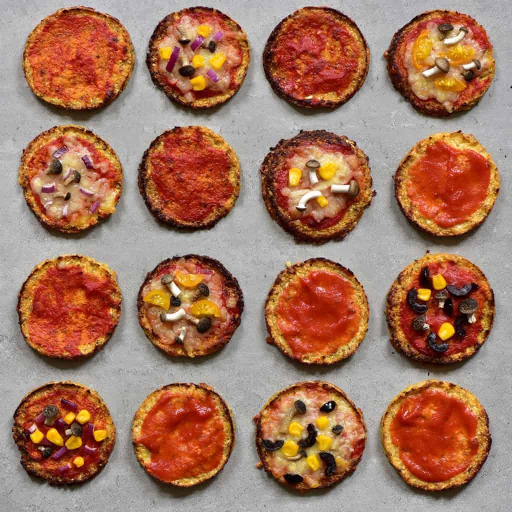 Low carb cauliflower base pizza