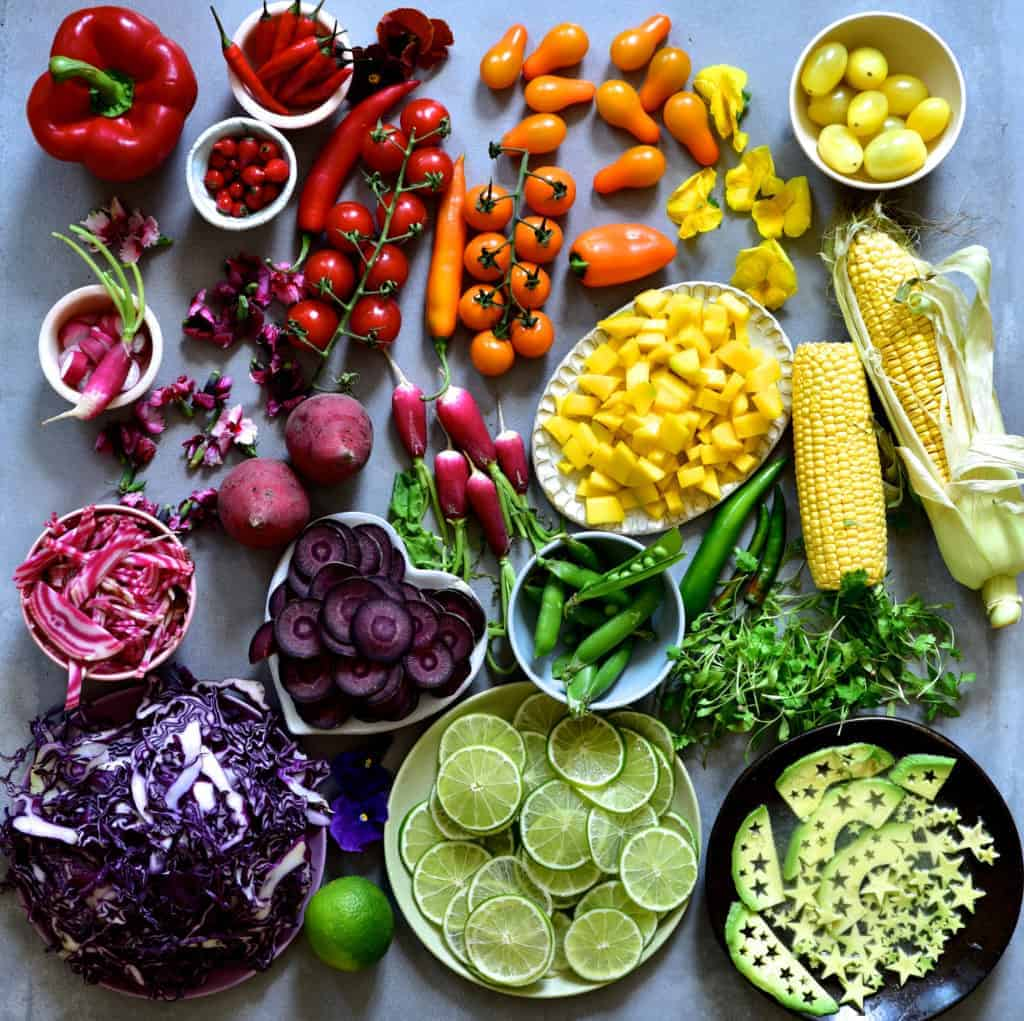 Rainbow vegetables as ingredients for tacos