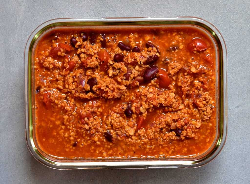 vegetarian soya mince in a square glass container