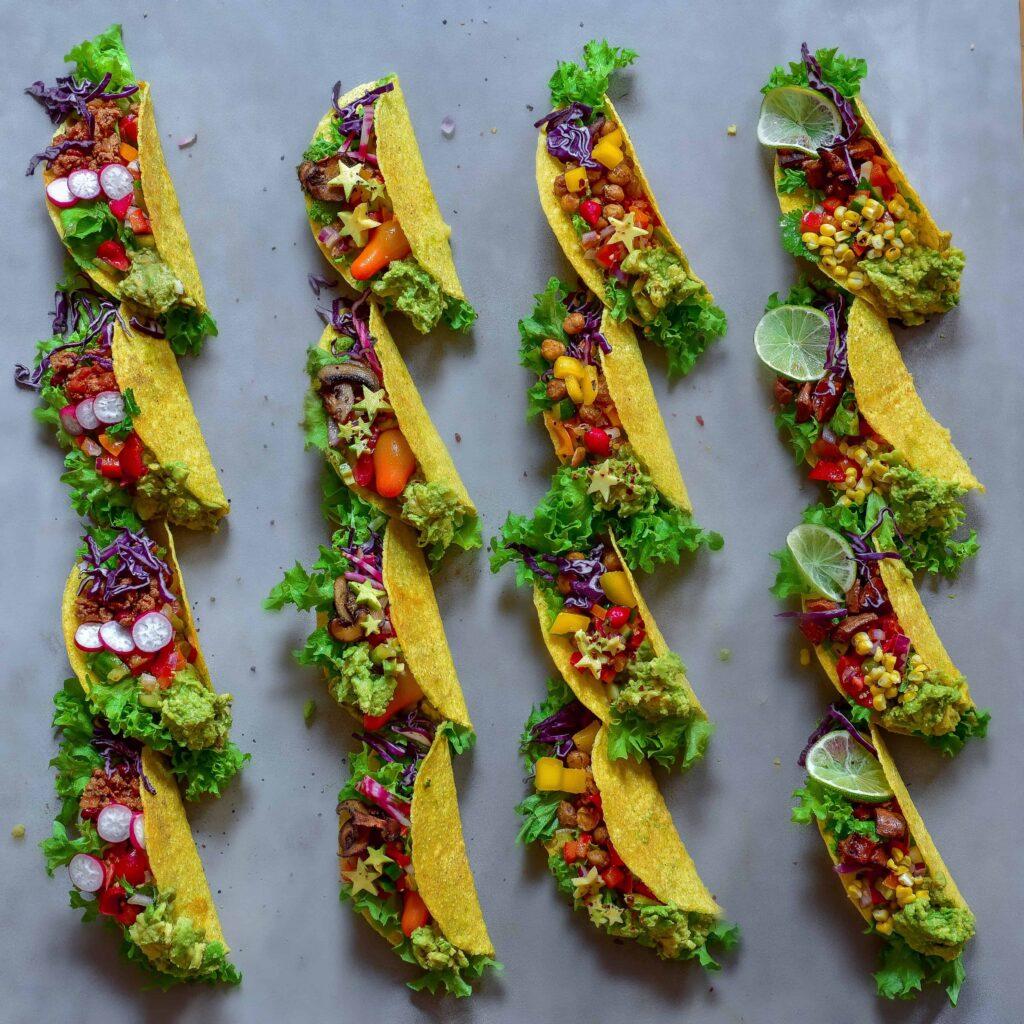 16 rainbow veggie tacos