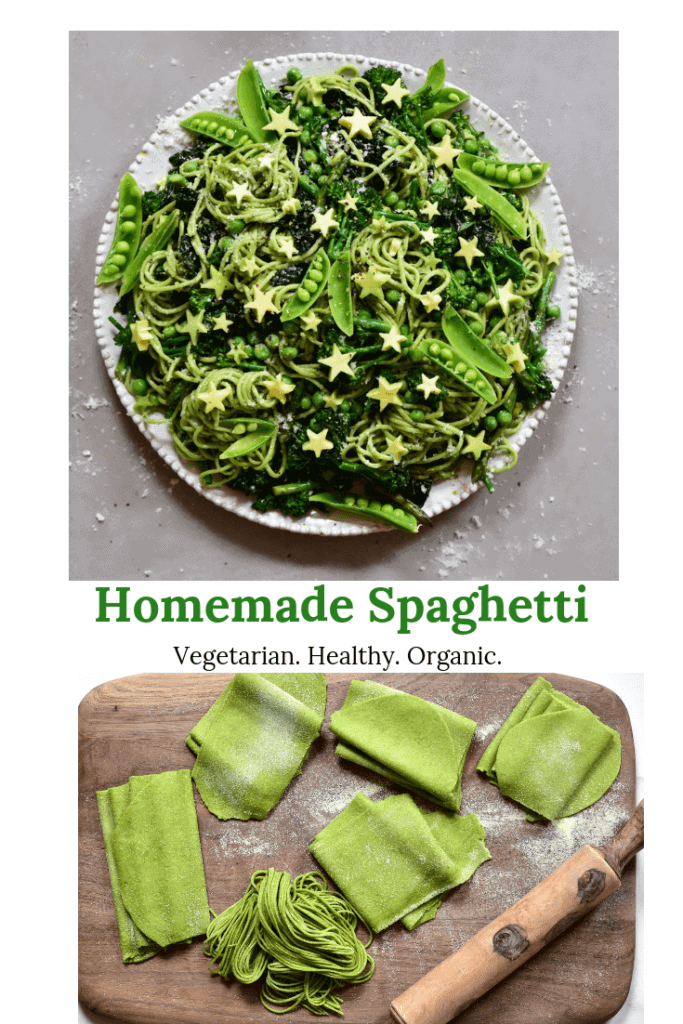 homemade green spinach pasta for a green pasta salad