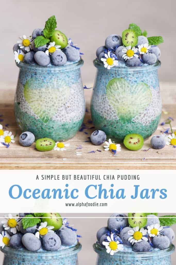 OCEAN blue and green CHIA pudding. healthy breakfast option