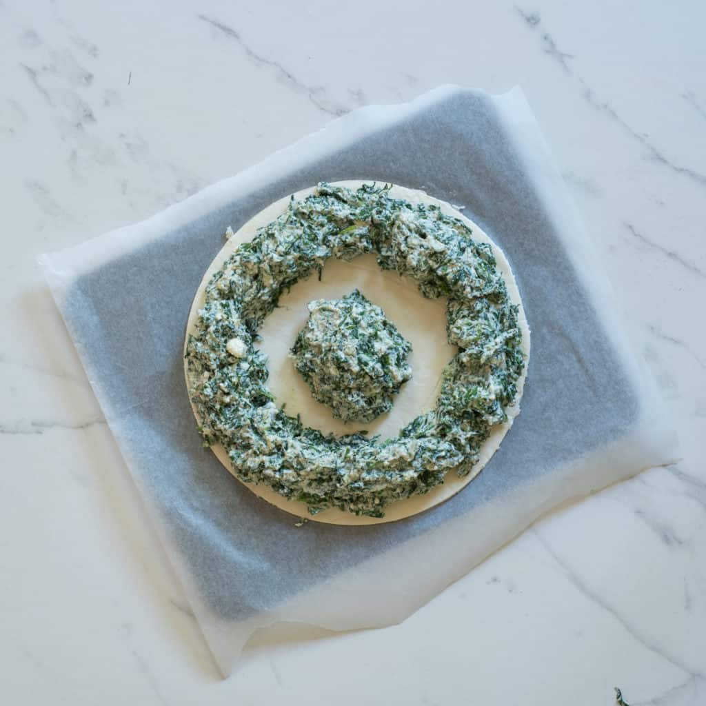Spinach pie pastry tarte soleil with cheese