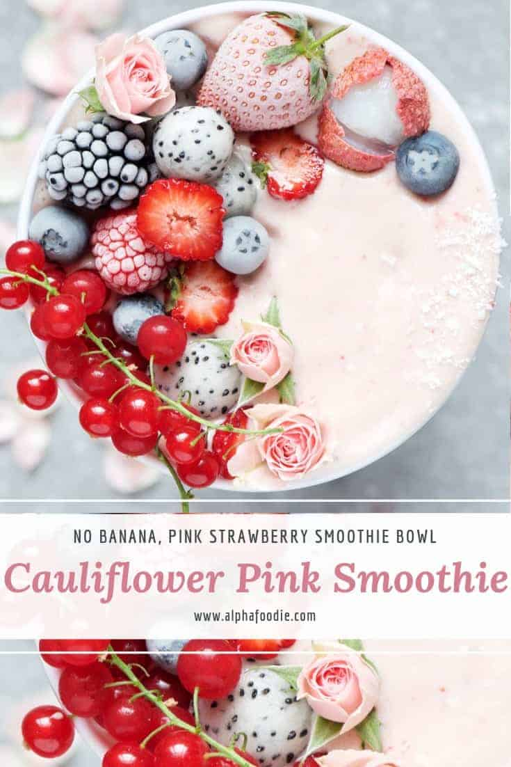 banana free smoothie. cauliflower pink smoothie with berries