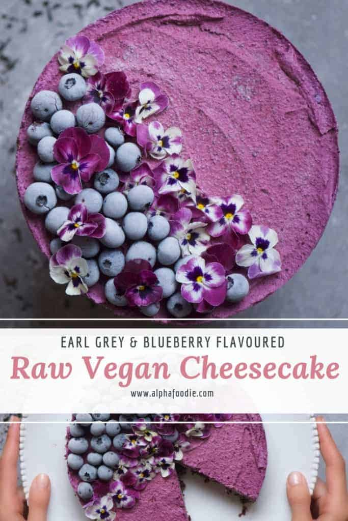 early grey and blueberry raw vegan cheesecake recipe
