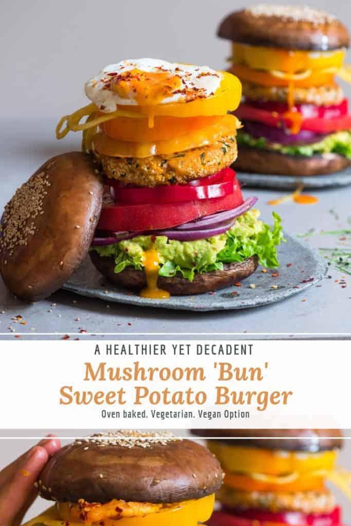mushroom bun veggie burger with sweet potato patty and lots of vegetables. Vegetarian/ vegan burger