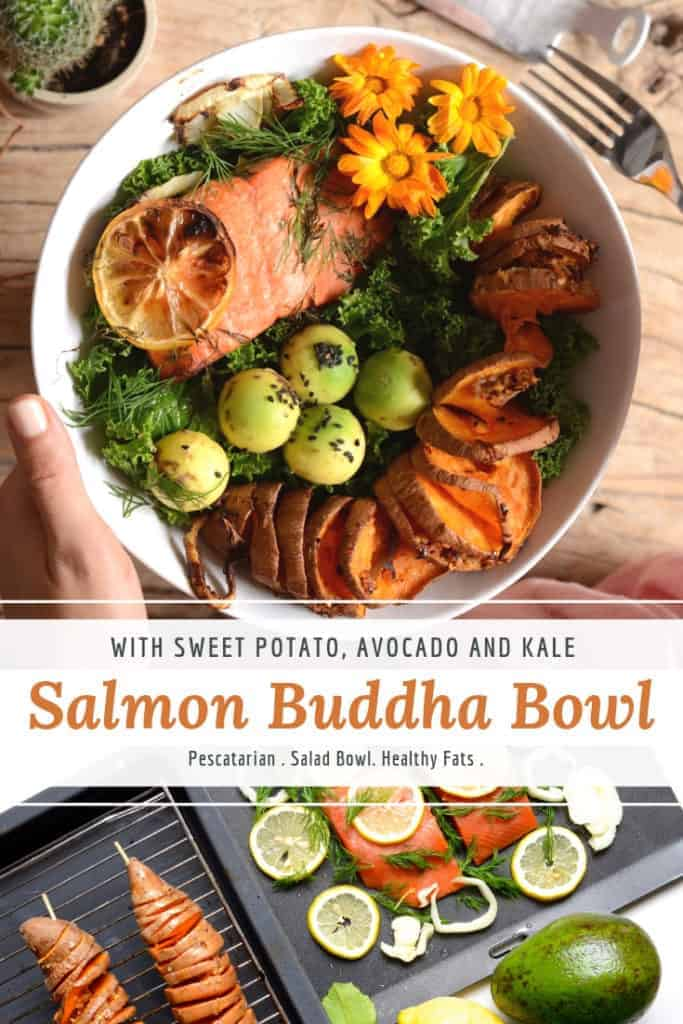 salmon buddha bowl with sweet potato, kale & avocado.