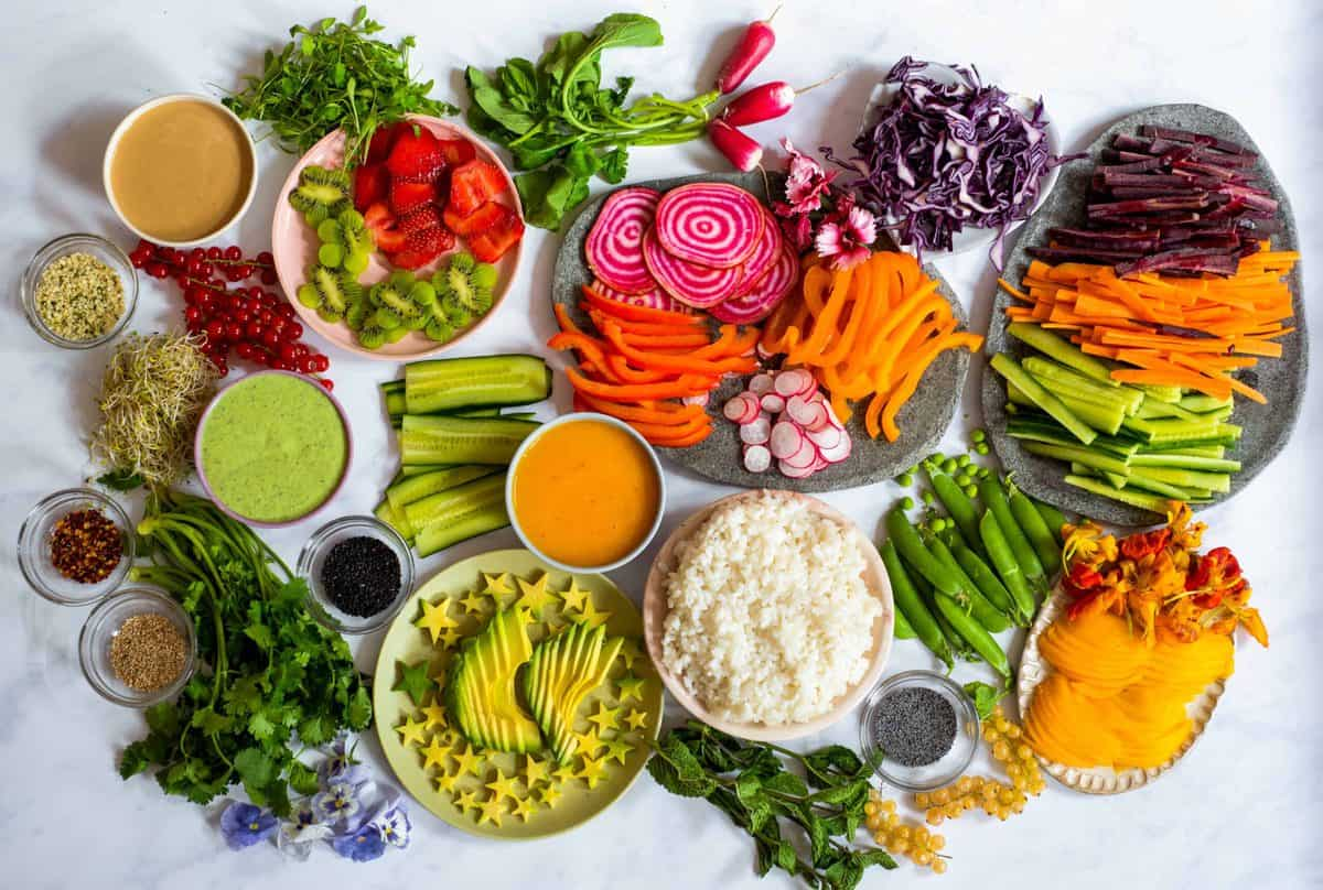 all the prepared fillings for rainbow vegan rice paper rolls