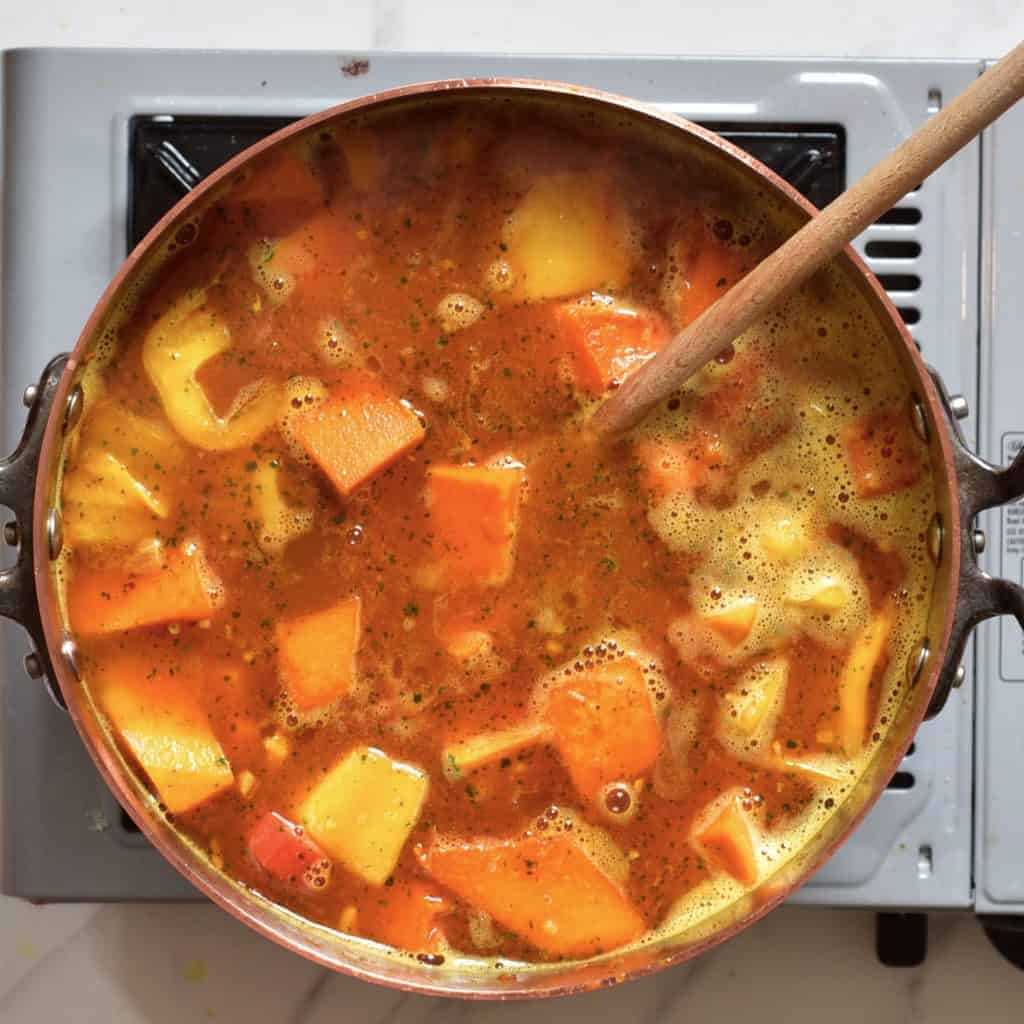 immune boosting soup cooking in a pot