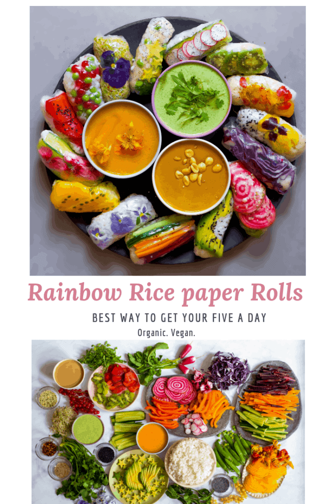 vegan rice paper rolls - delicious sweet and savoury rice paper spring rolls