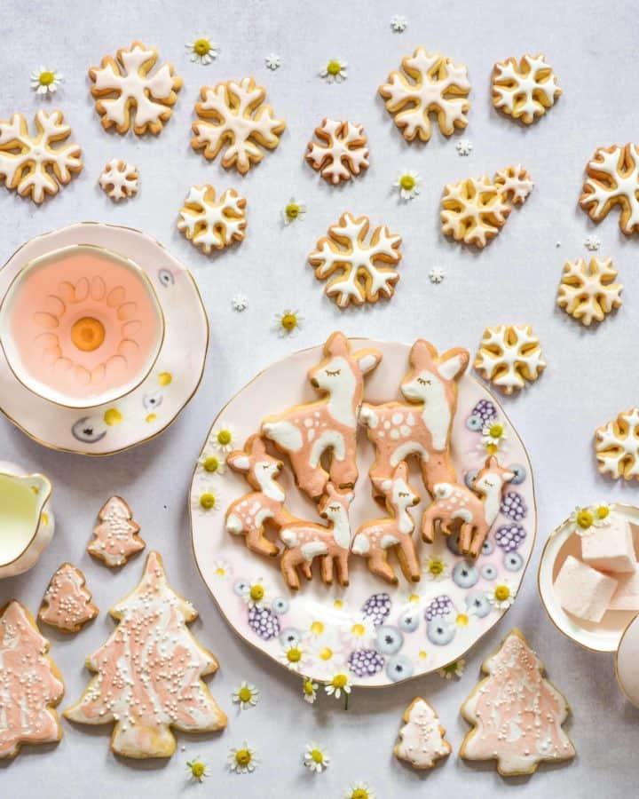 Christmas orange sugar cookies - bambi cookies, fawn and snowflake cookies, pastel colours