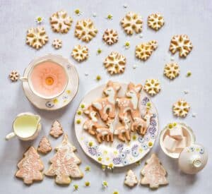 Christmas orange sugar cookies - bambi cookies, fawn and snowflake cookies, pastel colours