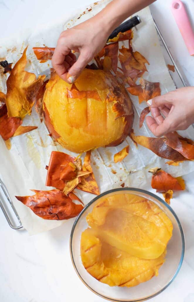 peeling the skin off a pumpkin