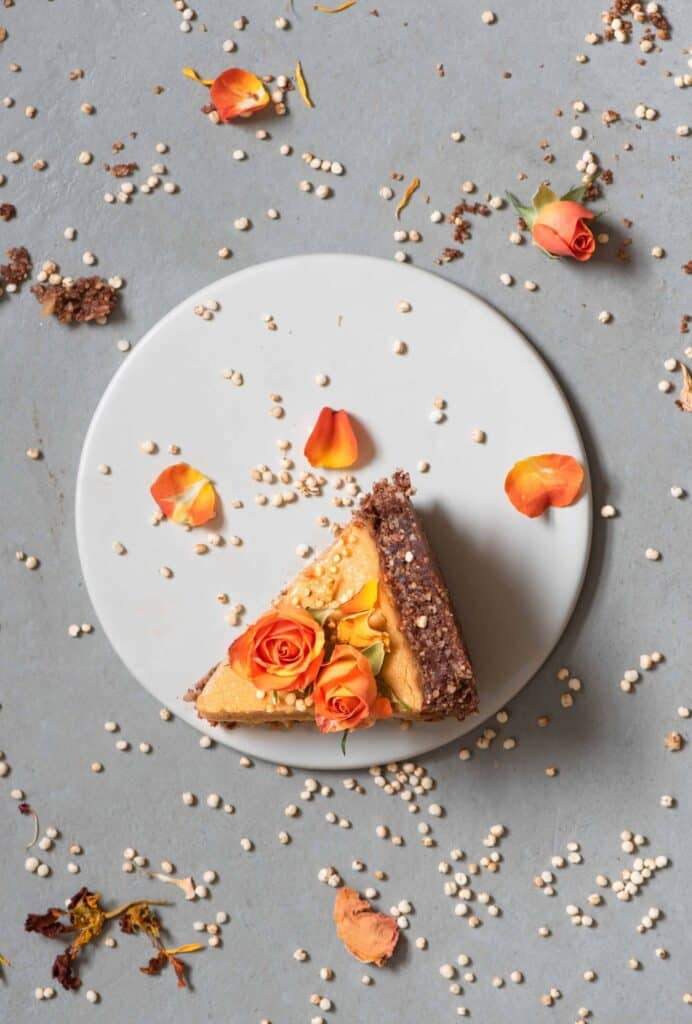 A slice of vegan pumpkin pie