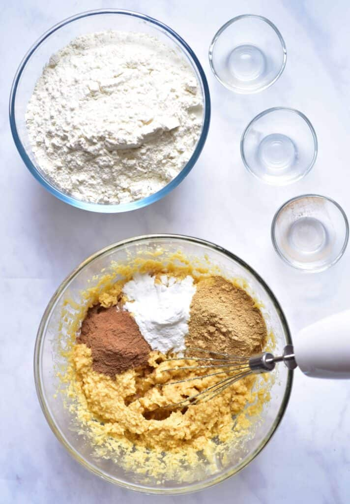 mixing the ingredients for gingerbread biscuits