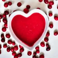 Cranberry sauce in a heart shaped bowl