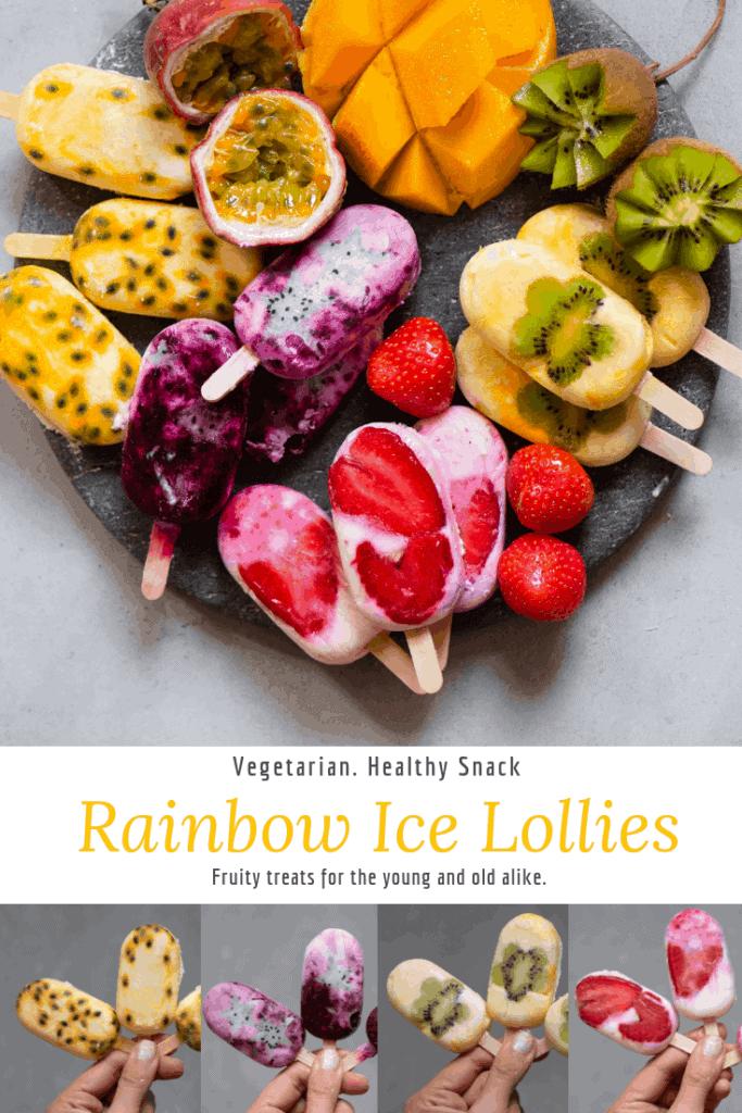 rainbow ice lollies with fruit
