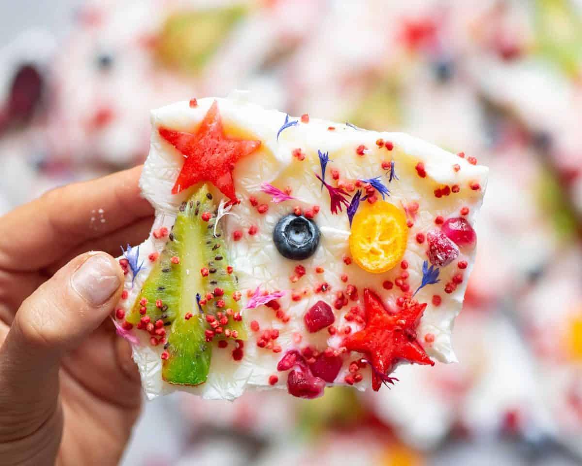 Delicious festive frozen yogurt bark recipes using homemade natural yogurt of vegan coconut yogurt. Delicious Christmas snacks for kids