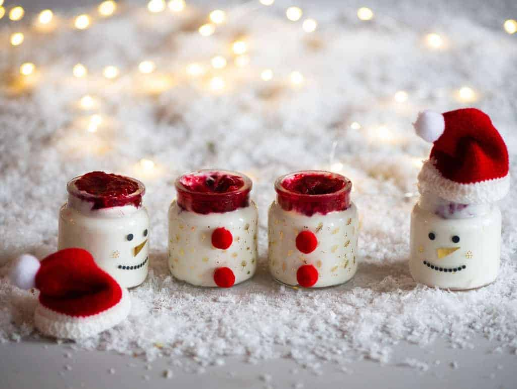 santa pots with homemade coconut yogurt and cranberry sauce