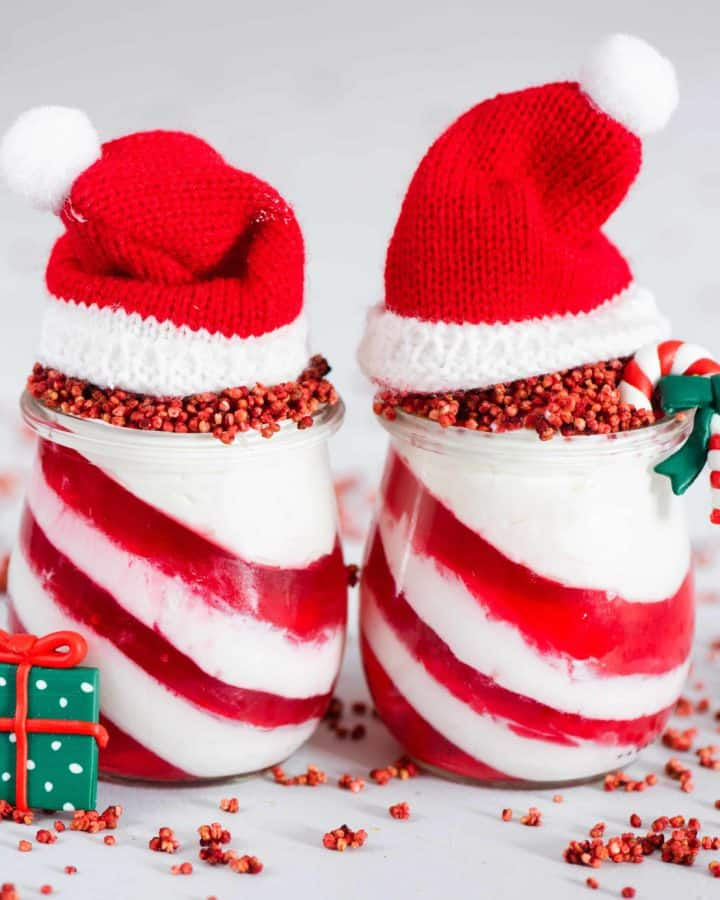 candy cane yogurt and jelly christmas dessert jars. healthy Christmas dessert