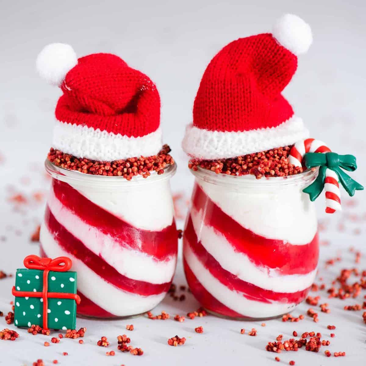 candy cane yogurt and jelly christmas dessert jars. healthy Christmas dessert