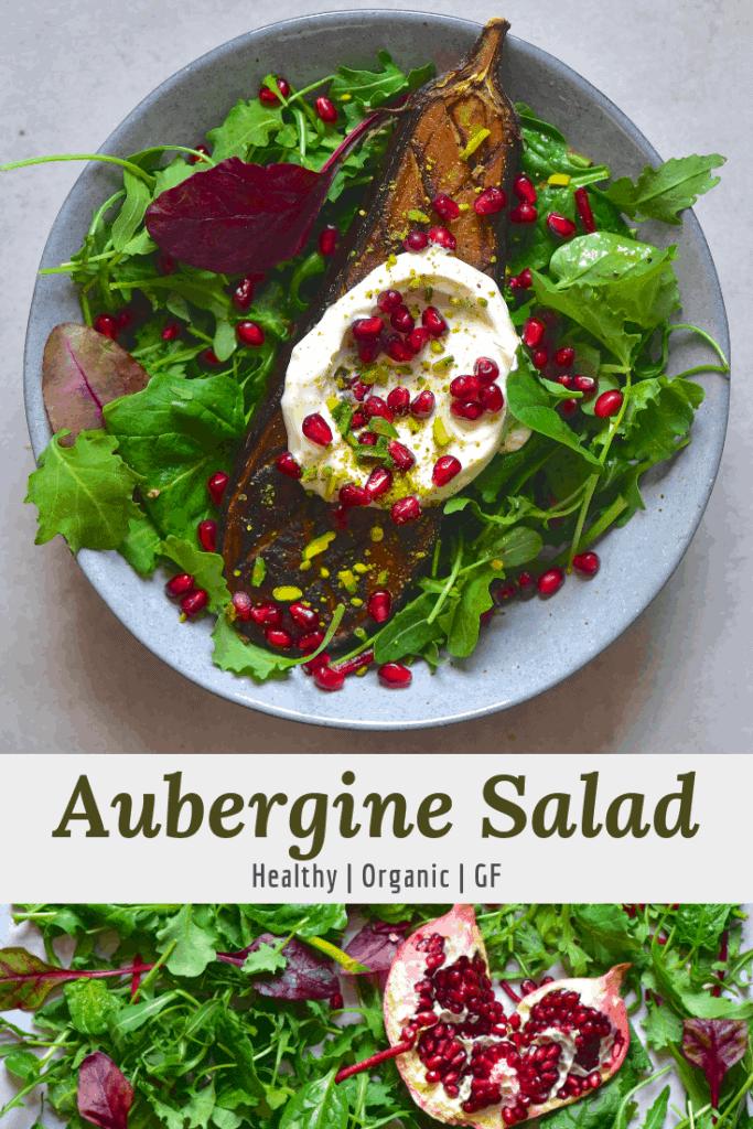 Aubergine Eggplant salad with yogurt and pomegranate seeds.