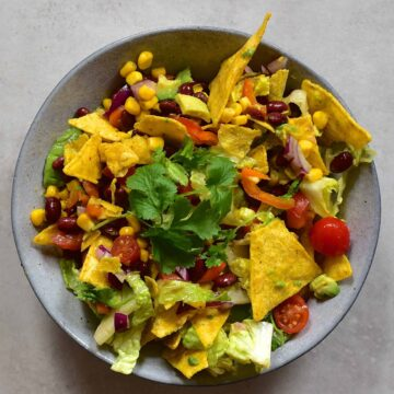 Mexican taco salad in bowl
