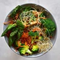 Thai noodle salad in bowl